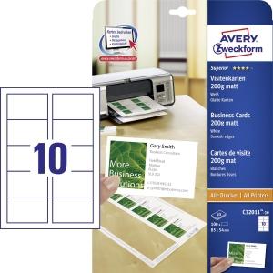 Avery C32011-10 weiße Visitenkarten 85 x 54 mm, 100 Stück/Packung