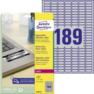 Avery Zweckform wetterfeste Polyester-Etiketten L6008-20,  25,4 x 10 mm