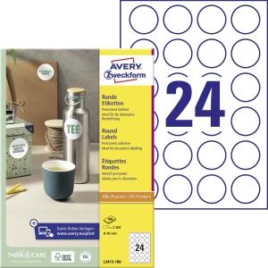 Markierungspunkte Zweckform L3415, Durchmesser: 40mm, weiß, 2400 Stück
