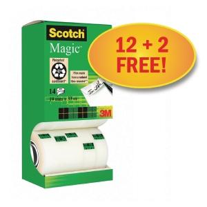 Klebefilm Scotch Magic Tape 810; 19 mm x 33 m, Vorteilspackung mit 14 Stück