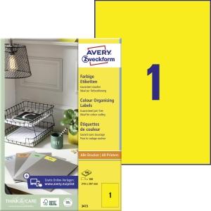 Etiketten Avery 3473, 210 x 297 mm, gelb, 100 Stück