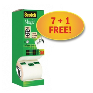 Klebefilm Scotch Magic Tape 810, 19 mm x 33 m, 7+1 Rollen