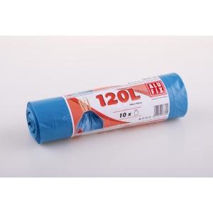 Müllbeutel mit Zugband, Füllmenge 120 l, 80 Mikron, blau, 10 Stück