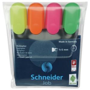 Schneider Job Textmarker, 4er Etui, Farbenmix