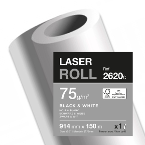 Plotterpapier in Rolle 914 mm x 150 m 75g