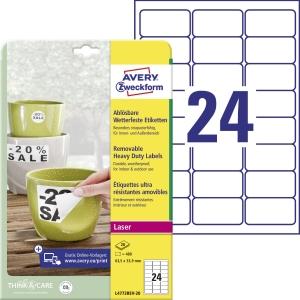 Avery Zweckform wiederablösbare, wetterfeste Polyester-Etiketten L4773REV-20