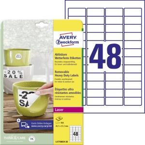Avery Zweckform wiederablösbare, wetterfeste Polyester-Etiketten, L4778REV-20