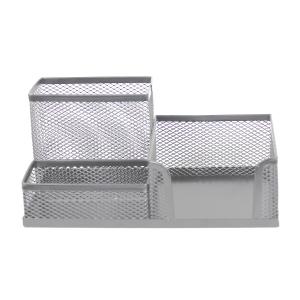 SaKOTA Schreibtisch-Organizer mit 3 Fächern, silber