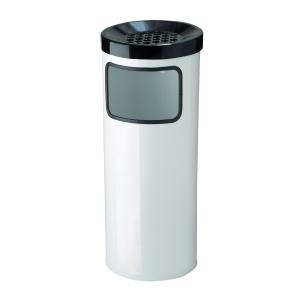 MEVA Abfallbehälter mit Ascher weiss, 30 l