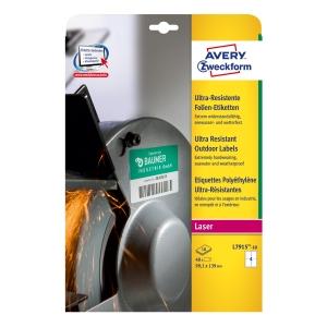 Avery ultra-resistente Etiketen, Modell: L7915-10, Größe: 99,1 x 139 mm, weiß