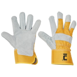 CERVA EIDER Lederhandschuhe, Größe 10, weiß/gelb
