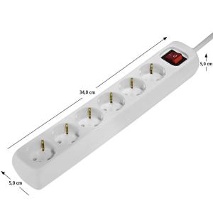 Hama Steckdosenleiste 6-fach, mit Schalter, 1,4 m, Weiß