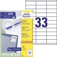Univerzálne etikety Aver y Zweckform, 70 x 25,4 mm, 33 etikiet/hárok