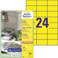 Žlté etikety Avery, 3451, 70 x 37 mm, 2400 etikiet/balenie