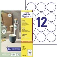 Okrúhle biele etikety Avery, L3415-100, priemer 40 mm, 24 etikiet/hárok