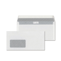 Obálky biele s krycou páskou DL (110 x 220 mm), okno vľavo, 1000 ks/balenie