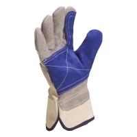 DELTAPLUS DS202 Kožené rukavice na všeobecnú manipuláciu, veľkosť 10 šedá/modrá
