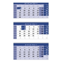 Trojmesačný kalendár modrý so špirálou a s menným kalendáriom, 3 x 12 listov
