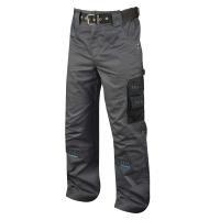 Montérkové nohavice do pása, PE/bavlna, veľkosť 48, šedá/čierna farba