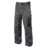 Montérkové nohavice do pása, PE/bavlna, veľkosť 50, šedá/čierna farba