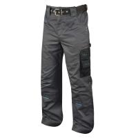 Montérkové nohavice do pása, PE/bavlna, veľkosť 52, šedá/čierna farba