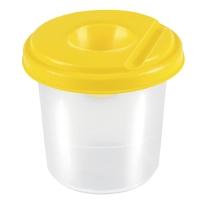 Plastový pohár na štetce s viečkom proti vyliatiu vody, mix farieb