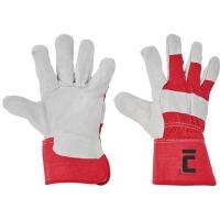 Kožené rukavice, veľkosť 11, farba biela/červená