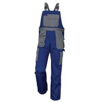Montérkové nohavice s náprsenkou, veľkosť 54, farba modrá/ sivá