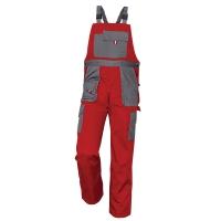Montérkové nohavice s náprsenkou, veľkosť 54, farba červená/ sivá