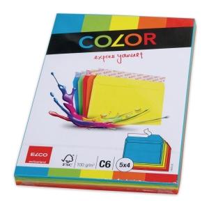 ELCO COLOR obálky,  C6 WO/WIN , mix farieb, balenie 20 ks