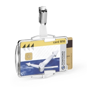 Priehľadný držiak s RFID ochranou na dve karty, rozmery 54 x 87 mm