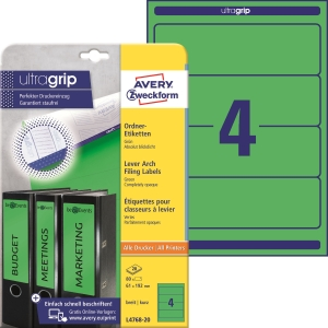 Etikety na zakladače Avery Zzeckform 192X61 zelené, 80 ks
