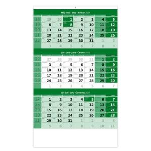 Trojmesačný kalendár zelený s menným kalendáriom - 12 listov, 31,5 x 45 cm