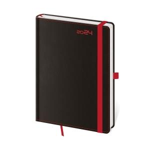 Diár denný A5 Black Red s putkom na pero, 14,3 x 20,5 cm, 352 strán