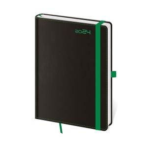 Diár denný A5 Black Green s putkom na pero, 14,3 x 20,5 cm, 352 strán