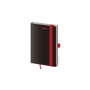 Diár týždenný vreckový Black Red s gumičkou a putkom na pero, 9 x 14 cm