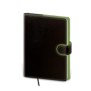 Diár týždenný A5 Flip - čierno/zelený, 14,3 x 20,5 cm, 128 strán