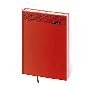 Diár denný A5 Gommato - červený, 14,3 x 20,5 cm, 352 strán