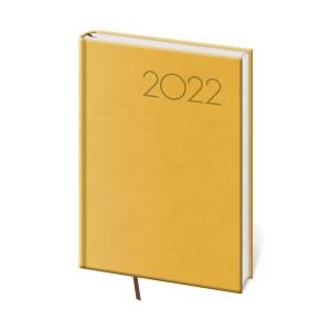 Diár denný A5 Print - žltý, 14,3 x 20,5 cm, 352 strán