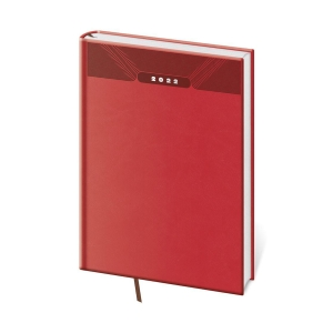 Diár týždenný A5 Print - červený, 14,3 x 20,5 cm, 128 strán