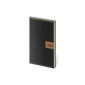 Diár týždenný vreckový Toledo - čierny, 8 x 15 cm, 128 strán