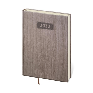 Diár týždenný A5 Wood - tmavohnedý, 14,3 x 20,5 cm, 128 strán