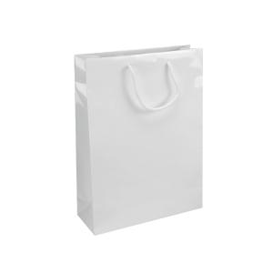 Darčeková papierová taška IVONE, 24 x 9 x 35 cm, biela