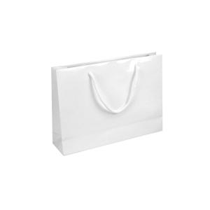 Darčeková papierová taška IVONE, 35 x 9 x 24 cm, biela