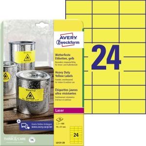 BX480 Avery L6131 veľmi odolné etikety 70x37 mm žlté
