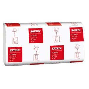 Skladané papierové ZZ utierky Katrin 42593 biele, 20 zväzkov po 200 ks