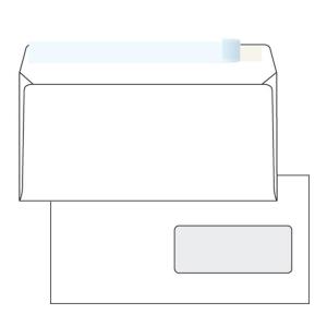 Obálky samolep. biele DL s kr. páskou a oknom vpravo (110 x 220 mm), 1000 ks/bal