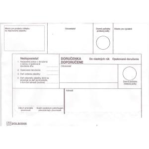 Obálky s doručenkou  do vlastných rúk, opakované doručenie  B6, 1000 ks/bal