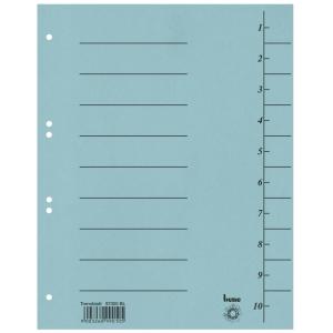 Rozdeľovače číselné kartónové Bene A4 modré, balenie 100 kusov