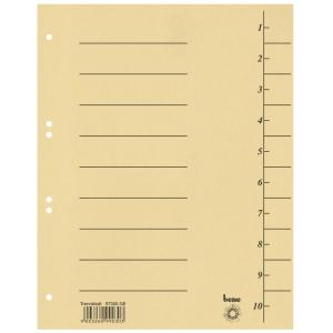 Rozdeľovače číselné kartónové Bene A4 žlté, balenie 100 kusov